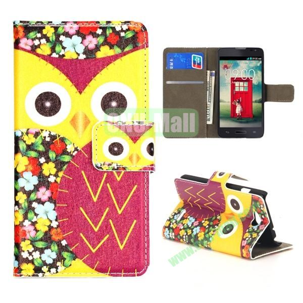 Owl Pattern Wallet PU Leather Case for LG L90 (Yellow and Red)
