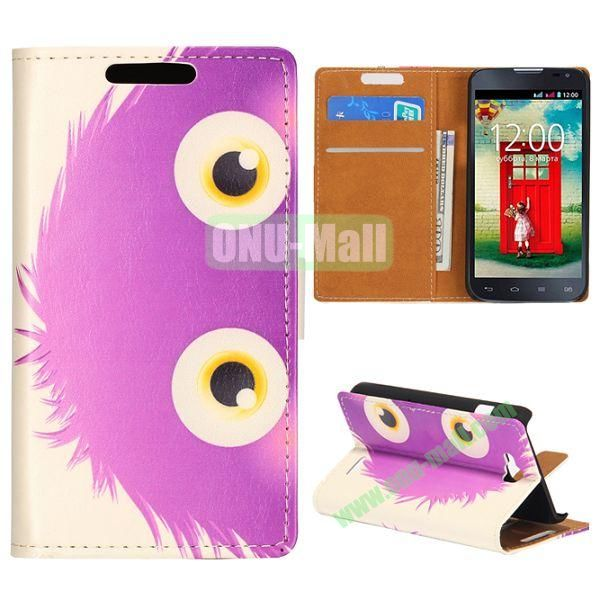 Wallet Style Flip Leather Case for LG L90 D405 with Magnetic Closure (Cool Purple Cartoon)