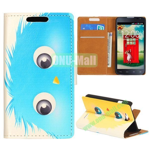 Wallet Style Flip Leather Case for LG L90 D405 with Magnetic Closure (Blue and Yellow Fat Ball)