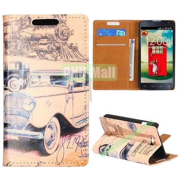 Wallet Style Flip Leather Case for LG L90 D405 with Magnetic Closure (Old Car and Eiffel Tower)