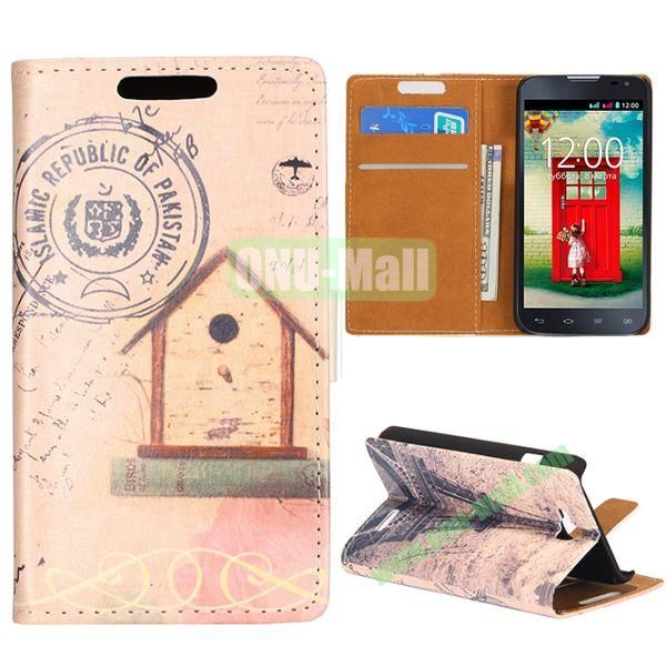 Wallet Style Flip Leather Case for LG L90 D405 with Magnetic Closure (Small House and Eiffel Tower)