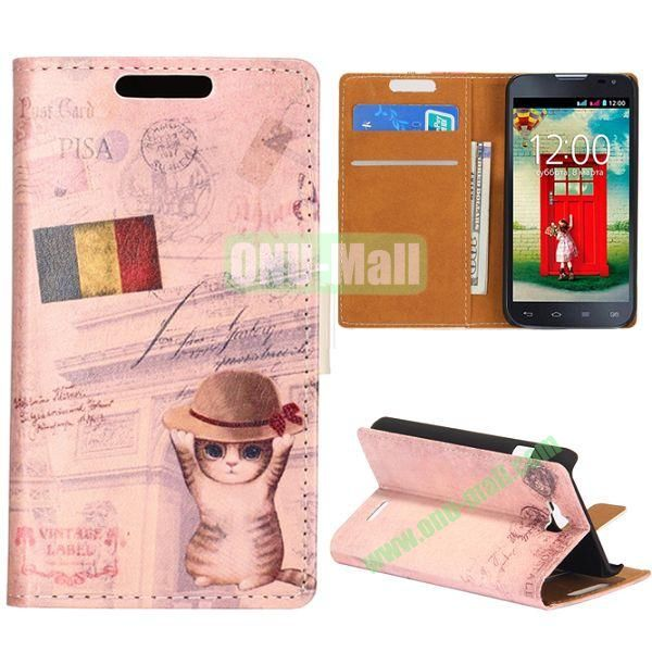 Wallet Style Flip Leather Case for LG L90 D405 with Magnetic Closure (Little Cat with Hat)