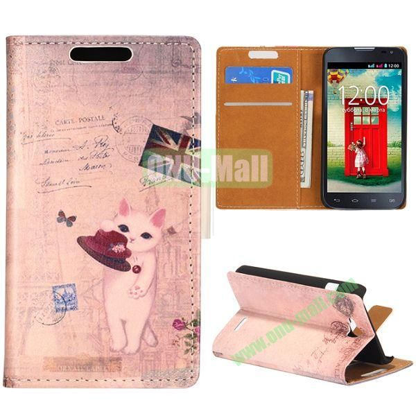 Wallet Style Flip Leather Case for LG L90 D405 with Magnetic Closure (Little Cat Playing Hat)