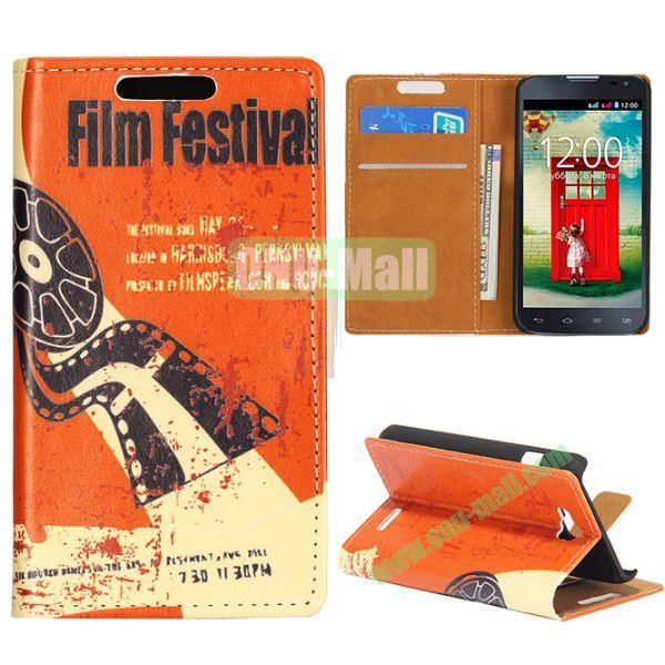Wallet Style Flip Leather Case for LG L90 D405 with Magnetic Closure (Film Festival)