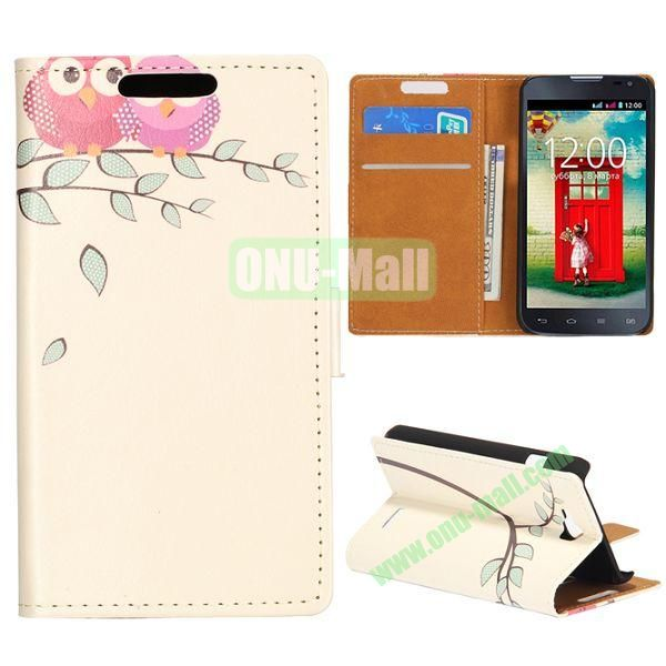 Wallet Style Flip Leather Case for LG L90 D405 with Magnetic Closure (Two Pink Owls)