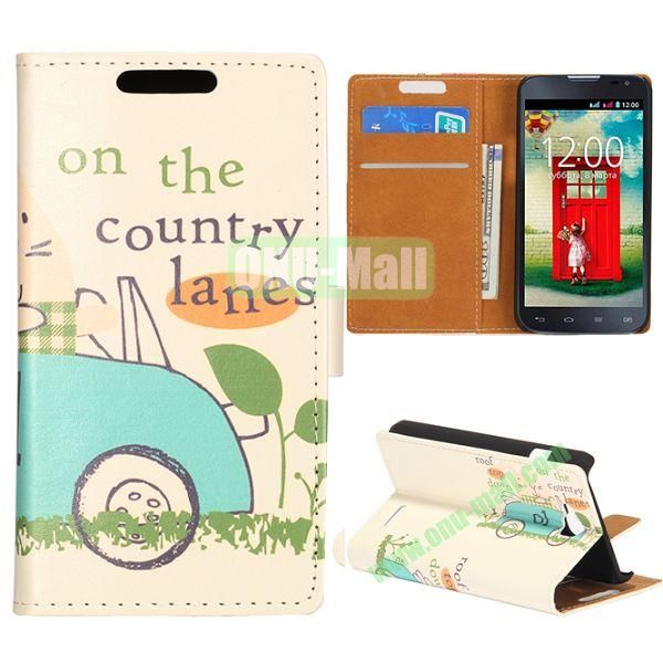 Wallet Style Flip Leather Case for LG L90 D405 with Magnetic Closure (On The Country Road)