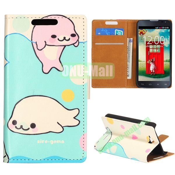 Wallet Style Flip Leather Case for LG L90 D405 with Magnetic Closure (Two Cute Dolphin)