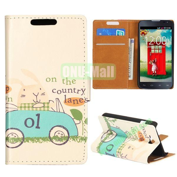 Wallet Style Flip Leather Case for LG L90 D405 with Magnetic Closure (Rich Rabbit)