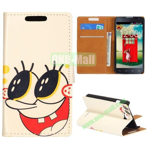 Wallet Style Flip Leather Case for LG L90 D405 with Magnetic Closure (Big Smile)