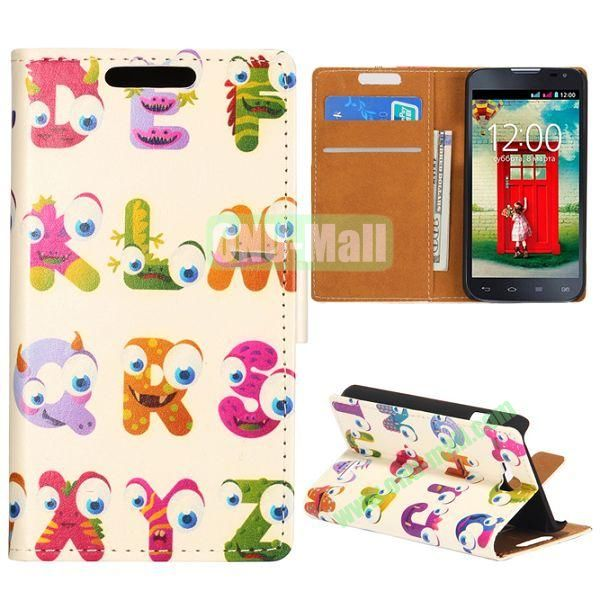 Wallet Style Flip Leather Case for LG L90 D405 with Magnetic Closure (Letter Person)