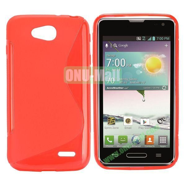 S Shape TPU Case for LG L90 (Red)