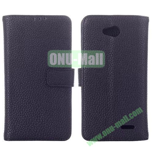 New Arrival Litchi Texture Leather Case for LG L90 D405 D410 with Card Slots (Black)