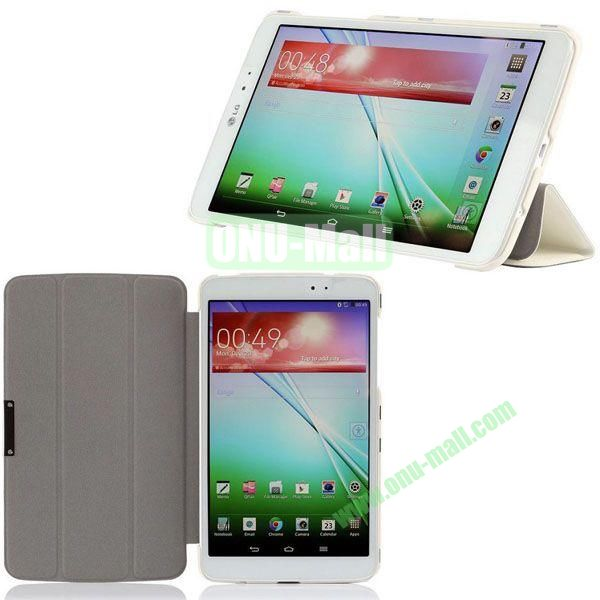 3-folding Ultrathin Silk Texture Leather Case with Holder for LG G Pad 8.3 (White)