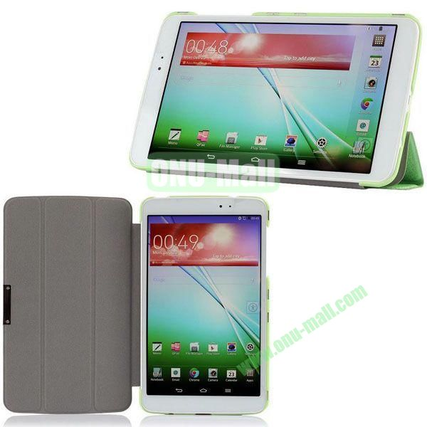 3-folding Ultrathin Silk Texture Leather Case with Holder for LG G Pad 8.3 (Green)