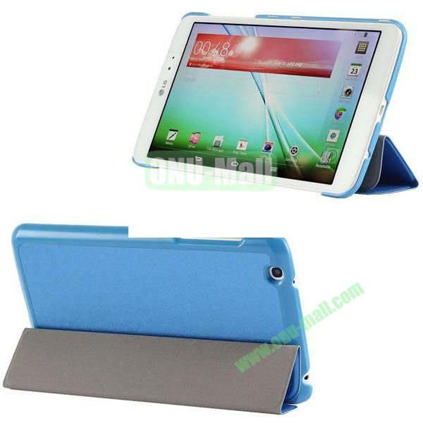 3-folding Ultrathin Silk Texture Leather Case with Holder for LG G Pad 8.3 (Blue)