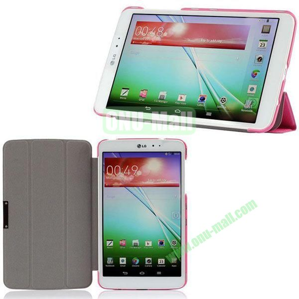 3-folding Ultrathin Silk Texture Leather Case with Holder for LG G Pad 8.3 (Rose)