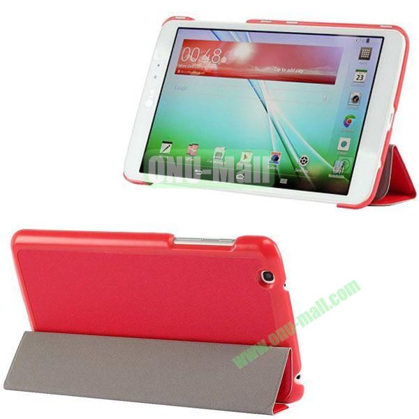 3-folding Ultrathin Silk Texture Leather Case with Holder for LG G Pad 8.3 (Red)