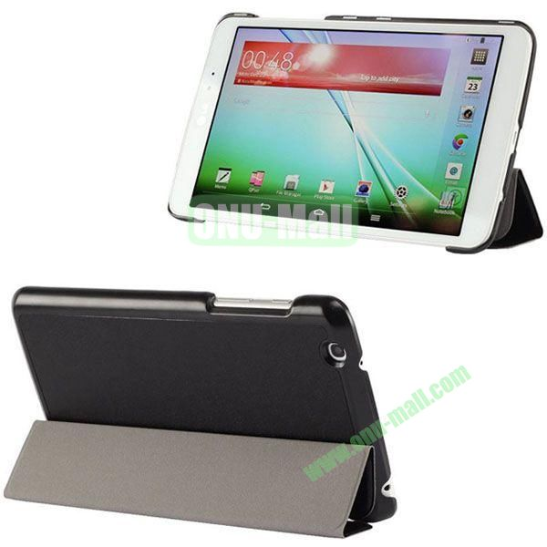 3-folding Ultrathin Silk Texture Leather Case with Holder for LG G Pad 8.3 (Black)