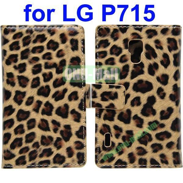 Leopard Texture Leather Cover for LG P715 Optimus L7 II with Credit Card Slots and Holder