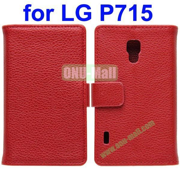 Litchi Texture Leather Cover for LG P715 Optimus L7 II with Credit Card Slots and Holder(Red)