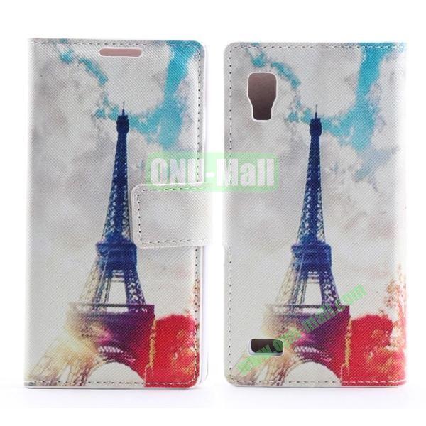 Stylish Cross Pattern Flip Stand PU Leather Case For LG P760 Optimus L9 (Eiffel Tower)