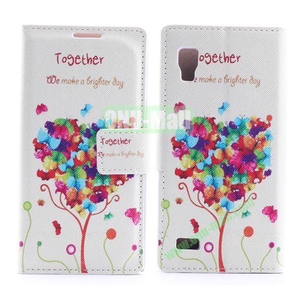 Stylish Cross Pattern Flip Stand PU Leather Case For LG P760 Optimus L9 (Beautiful Heart Design Tree)