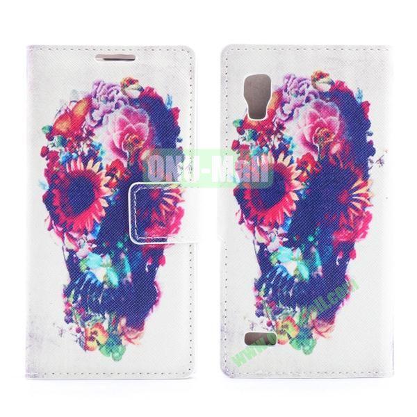 Stylish Cross Pattern Flip Stand PU Leather Case For LG P760 Optimus L9 (Flower Skull)