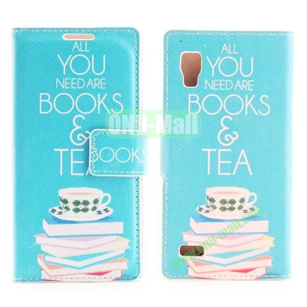 Stylish Cross Pattern Flip Stand PU Leather Case For LG P760 Optimus L9 (Books And Tea)
