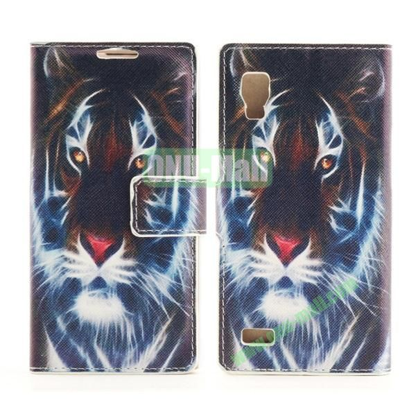 Stylish Cross Pattern Flip Stand PU Leather Case For LG P760 Optimus L9 (Tiger Pattern)