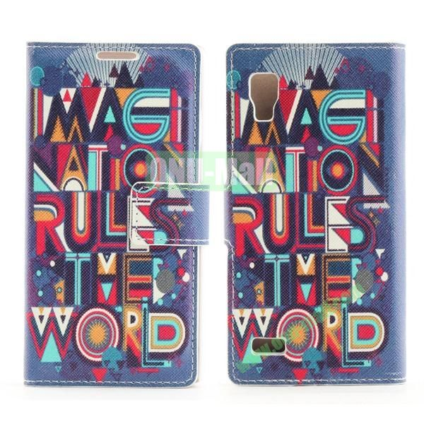 Stylish Cross Pattern Flip Stand PU Leather Case For LG P760 Optimus L9 (Geometry Of The Cartoon)