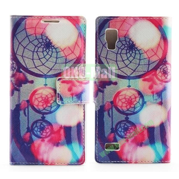 Stylish Cross Pattern Flip Stand PU Leather Case For LG P760 Optimus L9 (Pretty Dreamcatcher)