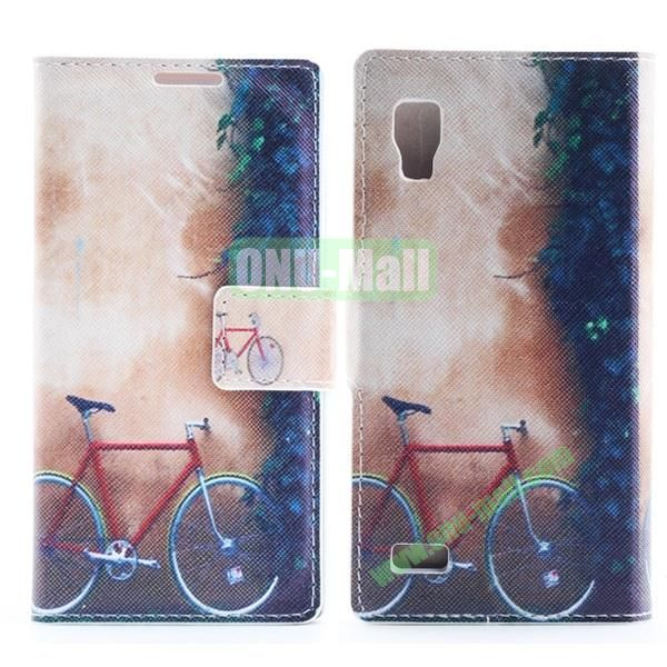 Stylish Cross Pattern Flip Stand PU Leather Case For LG P760 Optimus L9 (Bicycle)