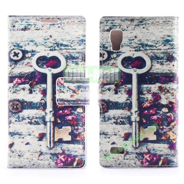 Stylish Cross Pattern Flip Stand PU Leather Case For LG P760 Optimus L9 (Key Pattern)