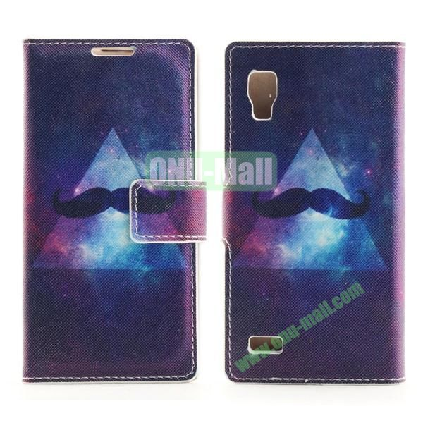 Stylish Cross Pattern Flip Stand PU Leather Case For LG P760 Optimus L9 (Cool Moustache)