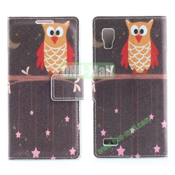 Stylish Cross Pattern Flip Stand PU Leather Case For LG P760 Optimus L9 (Cute Owl)