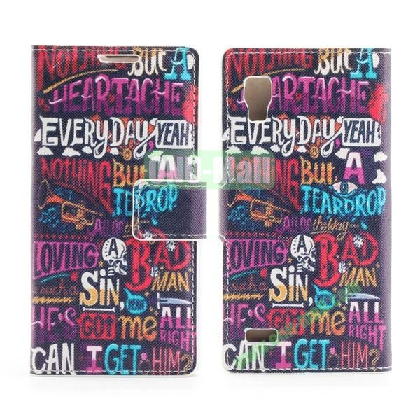 Stylish Cross Pattern Flip Stand PU Leather Case For LG P760 Optimus L9 (Cool English Letters)