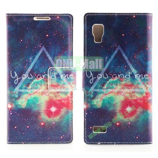 Stylish Cross Pattern Flip Stand PU Leather Case For LG P760 Optimus L9 (Colorized Nebula)