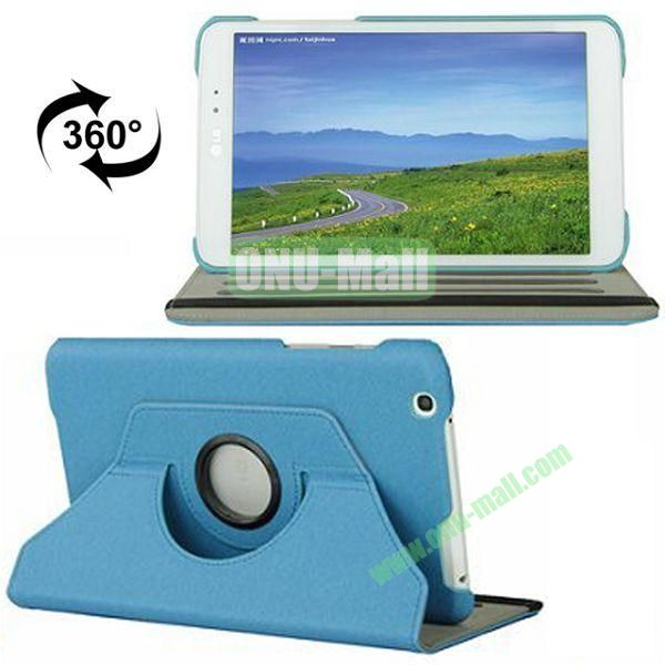 360 Degree Rotatable  Cowboy Texture Leather Case for LG G Pad 8.3  V500 with 2 Gears Holder (Blue)