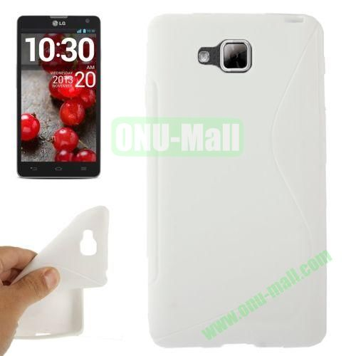 S-Shaped TPU Case for LG Optimus L9 II  D605 (White)