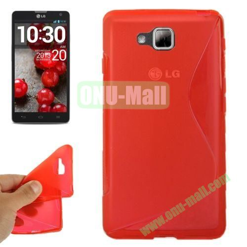 S-Shaped TPU Case for LG Optimus L9 II  D605 (Red)