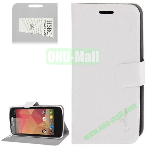 Hairline Texture Leather Case for Lenovo A630 with Credit Card Slots & Holder (White)