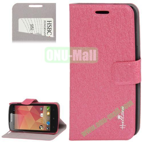 Hairline Texture Leather Case for Lenovo A630 with Credit Card Slots & Holder (Rose)