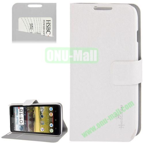 Hairline Texture Leather Case for Lenovo A656 A766 with Credit Card Slots & Holder (White)