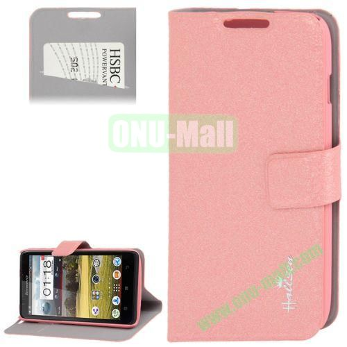 Hairline Texture Leather Case for Lenovo A656 A766 with Credit Card Slots & Holder (Pink)