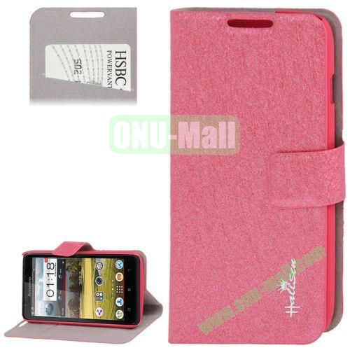 Hairline Texture Leather Case for Lenovo A656 A766 with Credit Card Slots & Holder (Rose)