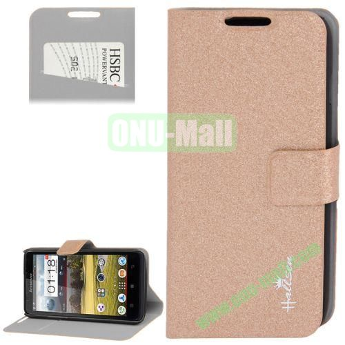 Hairline Texture Leather Case for Lenovo A656 A766 with Credit Card Slots & Holder (Brown)