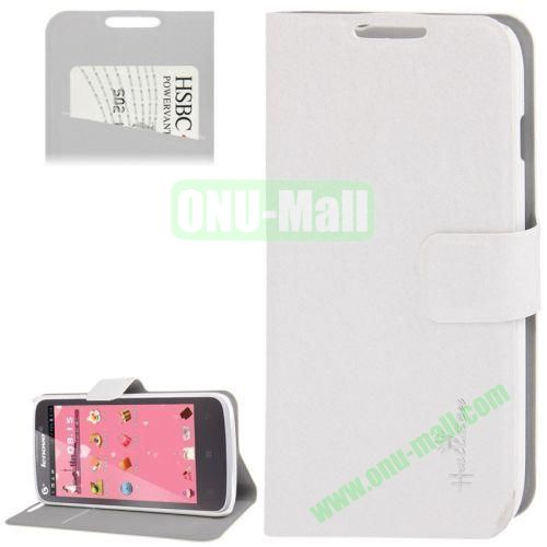 Hairline Texture Leather Case for Lenovo A670 with Credit Card Slots & Holder (White)