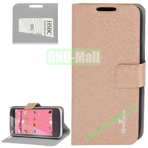 Hairline Texture Leather Case for Lenovo A670 with Credit Card Slots & Holder (Brown)
