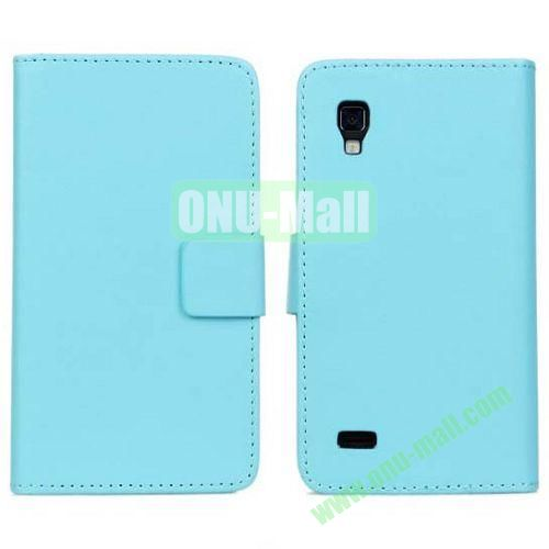 PU Material Leather Case for LG P760 (Optimus L9) with Card Slots and Stand (Blue)