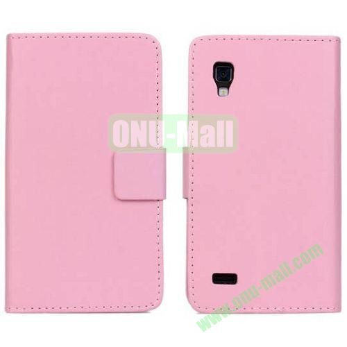 PU Material Leather Case for LG P760 (Optimus L9) with Card Slots and Stand (Pink)